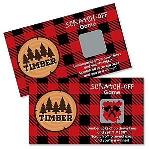 Lumberjack - Channel The Flannel - Personalized Buffalo Plaid Party Scratch Off Cards - 22 Cards