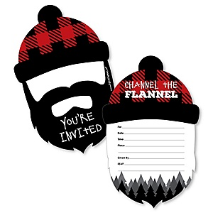 Lumberjack - Channel The Flannel - Shaped Fill-In Buffalo Plaid Party Invitation Cards with Envelopes - Set of 12