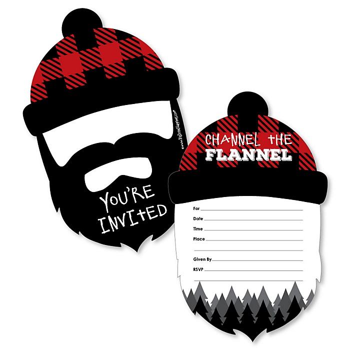 Lumberjack - Channel The Flannel - Shaped Fill-In Invitations - Buffalo Plaid Party Invitation Cards with Envelopes - Set of 12