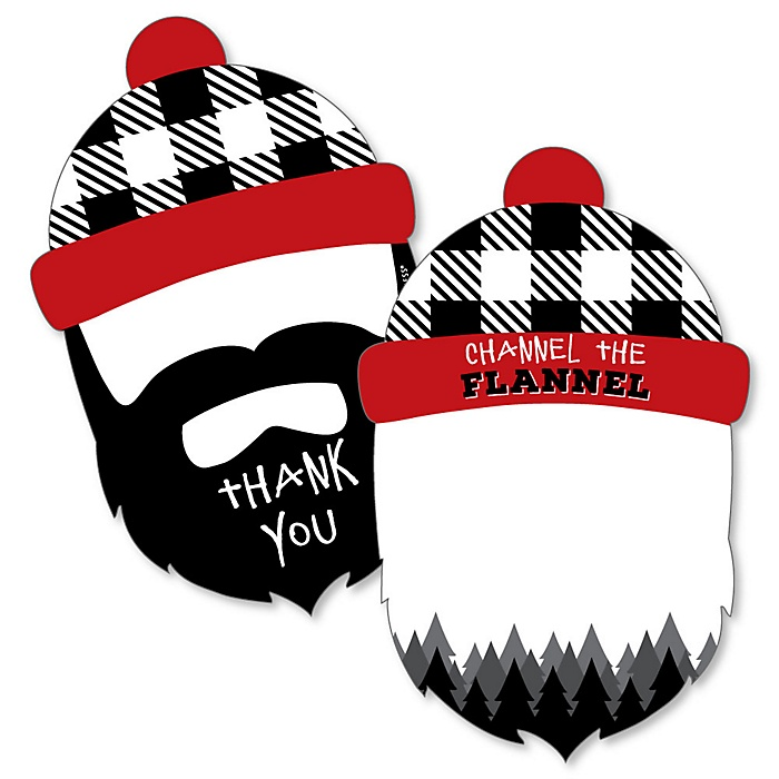 Lumberjack - Channel The Flannel - Shaped Thank You Cards - Buffalo Plaid Party Thank You Note Cards with Envelopes - Set of 12
