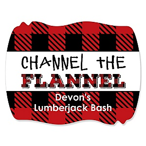 Lumberjack - Channel The Flannel - Personalized Buffalo Plaid Party Squiggle Sticker Labels - 16 ct