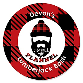Lumberjack - Channel The Flannel - Personalized Buffalo Plaid Party Sticker Labels - 24 ct