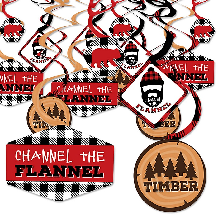 Lumberjack - Channel The Flannel - Buffalo Plaid Party Hanging Decor - Party Decoration Swirls - Set of 40