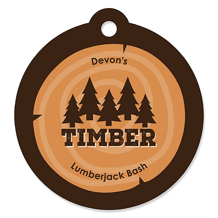 Lumberjack - Channel The Flannel - Personalized Buffalo Plaid Party Favor Gift Tags - 20 ct