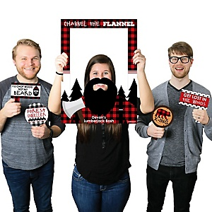 Lumberjack - Channel The Flannel - Personalized Buffalo Plaid Party Selfie Photo Booth Picture Frame & Props - Printed on Sturdy Material