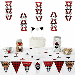 Lumberjack - Channel The Flannel - 72 Piece Triangle Buffalo Plaid Party Decoration Kit