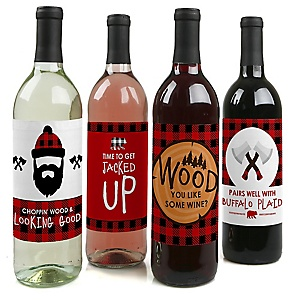 Lumberjack - Channel The Flannel - Buffalo Plaid Decorations for Women and Men - Wine Bottle Label Stickers - Set of 4