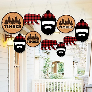 Hanging Lumberjack - Channel The Flannel - Outdoor Buffalo Plaid Party Hanging Porch & Tree Yard Decorations - 10 Pieces