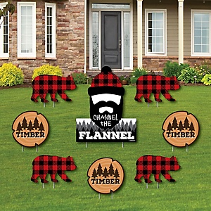 Lumberjack - Channel The Flannel - Yard Sign & Outdoor Lawn Decorations - Buffalo Plaid Party Yard Signs - Set of 8