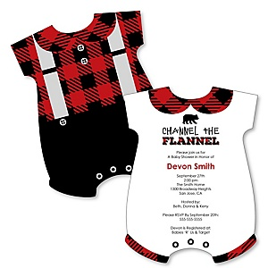 Lumberjack - Channel The Flannel - Baby Bodysuit Shaped Buffalo Plaid Baby Shower Party Invitations - Set of 12