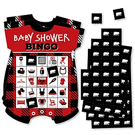 Lumberjack - Channel The Flannel - Picture Bingo Cards and Markers - Buffalo Plaid Baby Shower Shaped Bingo Game - Set of 18