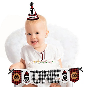 Lumberjack - Channel The Flannel 1st Birthday - First Birthday Boy Smash Cake Decorating Kit - High Chair Decorations