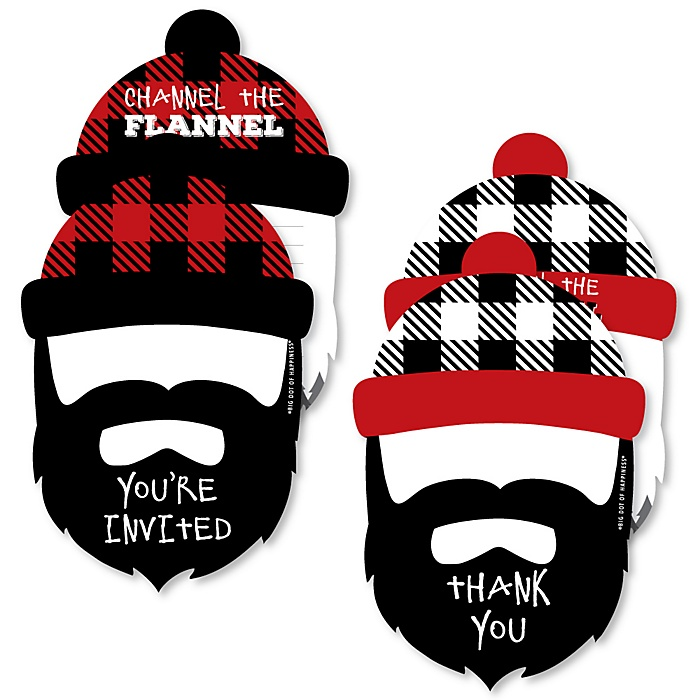 Lumberjack - Channel The Flannel - 20 Shaped Fill-In Invitations and 20 Shaped Thank You Cards Kit - Buffalo Plaid Party Stationery Kit - 40 Pack
