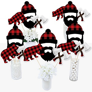 Lumberjack - Channel The Flannel - Buffalo Plaid Party Centerpiece Sticks - Table Toppers - Set of 15