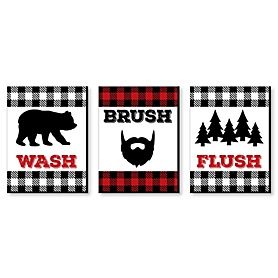 Lumberjack - Channel The Flannel - Kids Bathroom Rules Wall Art - 7.5 x 10 inches - Set of 3 Signs - Wash, Brush, Flush