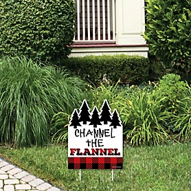 Lumberjack - Channel The Flannel - Outdoor Lawn Sign - Buffalo Plaid Party Yard Sign - 1 Piece