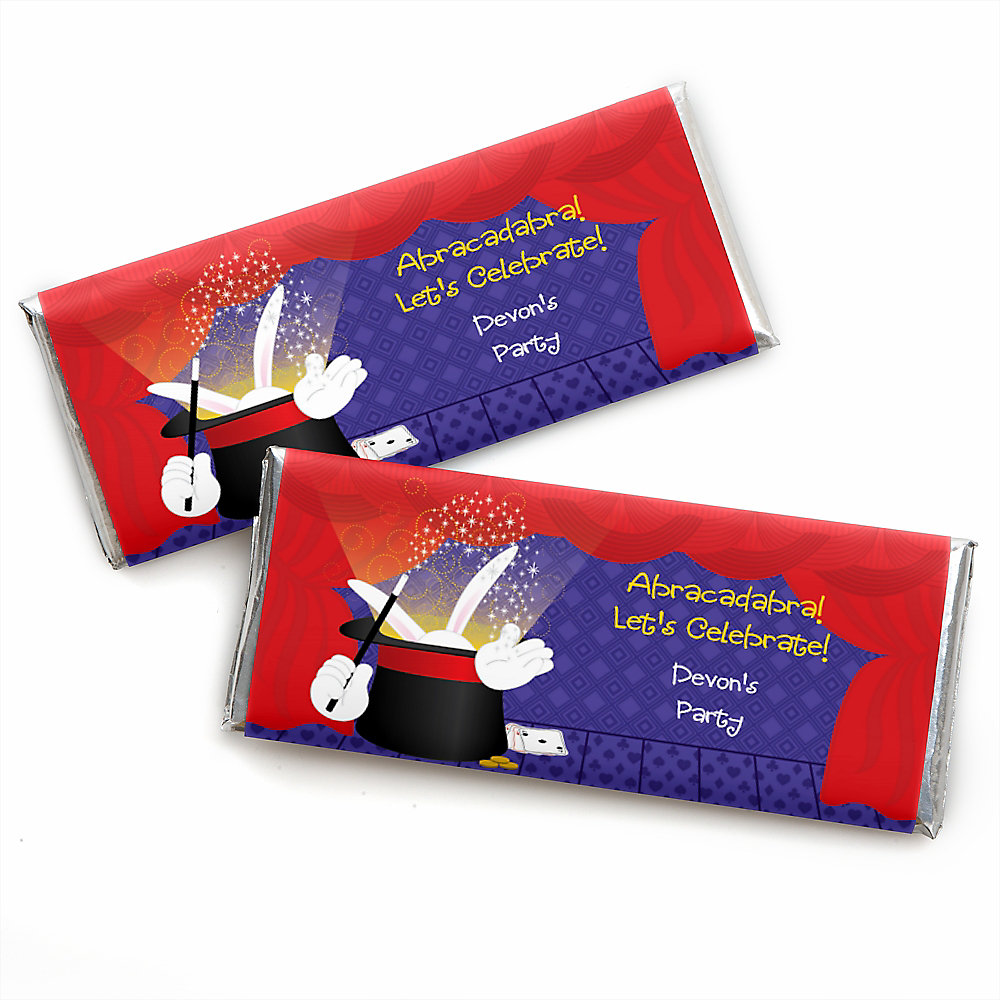 Magic - Personalized Candy Bar Wrapper Birthday Party Favors - Set of 24