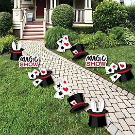 Ta-Da, Magic Show - Rabbit in a Magician's Hat and Cards Lawn Decorations - Outdoor Magical Birthday Party Yard Decorations - 10 Piece
