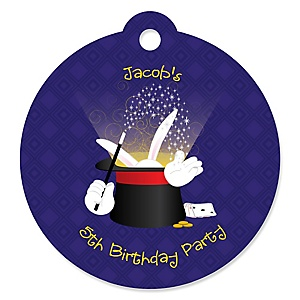 Magic - Round Personalized Birthday Party Tags - 20 ct