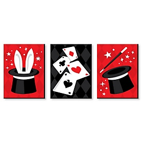 Ta-Da, Magic Show - Magical Wall Art, Kids Room Decor and Game Room Home Decorations - 7.5 x 10 inches - Set of 3 Prints