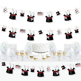 Ta-Da, Magic Show - Magical Birthday Party DIY Decorations - Clothespin Garland Banner - 44 Pieces