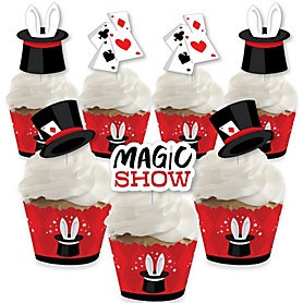 Ta-Da, Magic Show - Cupcake Decoration - Magical Birthday Party Cupcake Wrappers and Treat Picks Kit - Set of 24