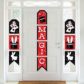 Ta-Da, Magic Show - Hanging Vertical Paper Door Banners - Magical Birthday Party Wall Decoration Kit - Indoor Door Decor