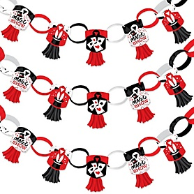 Ta-Da, Magic Show - 90 Chain Links and 30 Paper Tassels Decoration Kit - Magical Birthday Party Paper Chains Garland - 21 feet