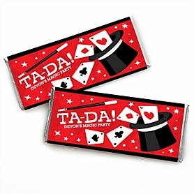 Ta-Da, Magic Show - Personalized Candy Bar Wrapper Magical Birthday Party Favors - Set of 24