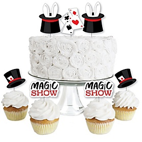 Ta-Da, Magic Show - Dessert Cupcake Toppers - Magical Birthday Party Clear Treat Picks - Set of 24