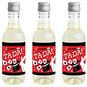 Ta-Da, Magic Show - Mini Wine and Champagne Bottle Label Stickers - Magical Birthday Party Favor Gift for Women and Men - Set of 16