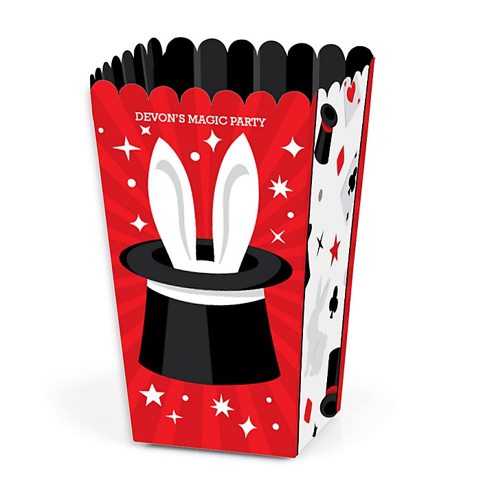 Ta-Da, Magic Show - Magical Birthday Party Favor Popcorn Treat Boxes - Set of 12