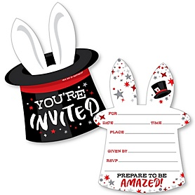 Ta-Da, Magic Show - Shaped Fill-In Invitations - Magical Birthday Party Invitation Cards with Envelopes - Set of 12