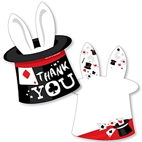 Ta-Da, Magic Show - Shaped Thank You Cards - Magical Birthday Party Thank You Note Cards with Envelopes - Set of 12