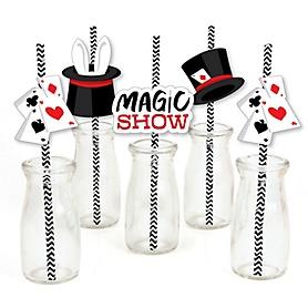 Ta-Da, Magic Show - Paper Straw Decor - Magical Birthday Party Striped Decorative Straws - Set of 24