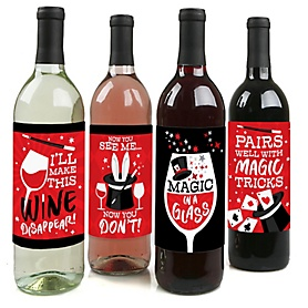 Ta-Da, Magic Show - Magical Birthday Party Decorations for Women and Men - Wine Bottle Label Stickers - Set of 4