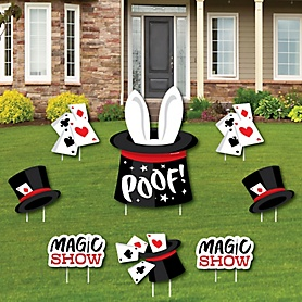 Ta-Da, Magic Show - Yard Sign and Outdoor Lawn Decorations - Magical Birthday Party Yard Signs - Set of 8