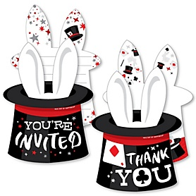 Ta-Da, Magic Show - 20 Shaped Fill-In Invitations and 20 Shaped Thank You Cards Kit - Magical Birthday Party Stationery Kit - 40 Pack