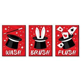 Ta-Da, Magic Show - Magical Kids Bathroom Rules Wall Art - 7.5 x 10 inches - Set of 3 Signs - Wash, Brush, Flush
