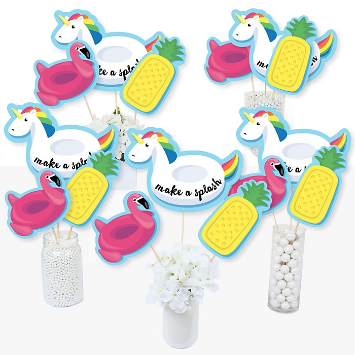 Make A Splash - Pool Party - Summer Swimming Party or Birthday Party Centerpiece Sticks - Table Toppers - Set of 15