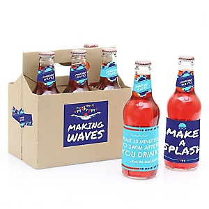 Making Waves - Swim - Decorations for Women and Men - 6 Swimming Party Soda/Beer Bottle Label Stickers and 1 Carrier