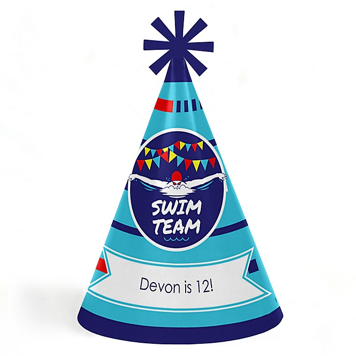 Making Waves - Swim Team - Personalized Cone  Happy Birthday Party Hats for Kids and Adults - Set of 8 (Standard Size)