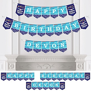 Making Waves - Swim Team - Personalized  Birthday Party Bunting Banner & Decorations
