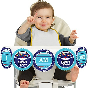 Making Waves - Swim Team 1st Birthday - I am One -  First Birthday High Chair Birthday Banner