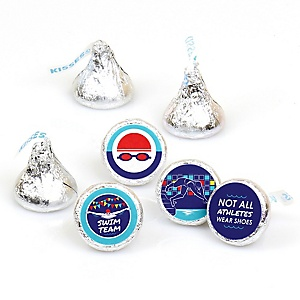 Making Waves - Swim Team - Baby Shower or Birthday Party Round Candy Sticker Favors - Labels Fit Hershey's Kisses  - 108 ct