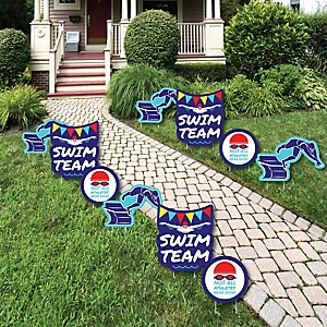 Making Waves - Swim Team - Lawn Decorations - Outdoor Baby Shower or Birthday Party Yard Decorations - 10 Piece