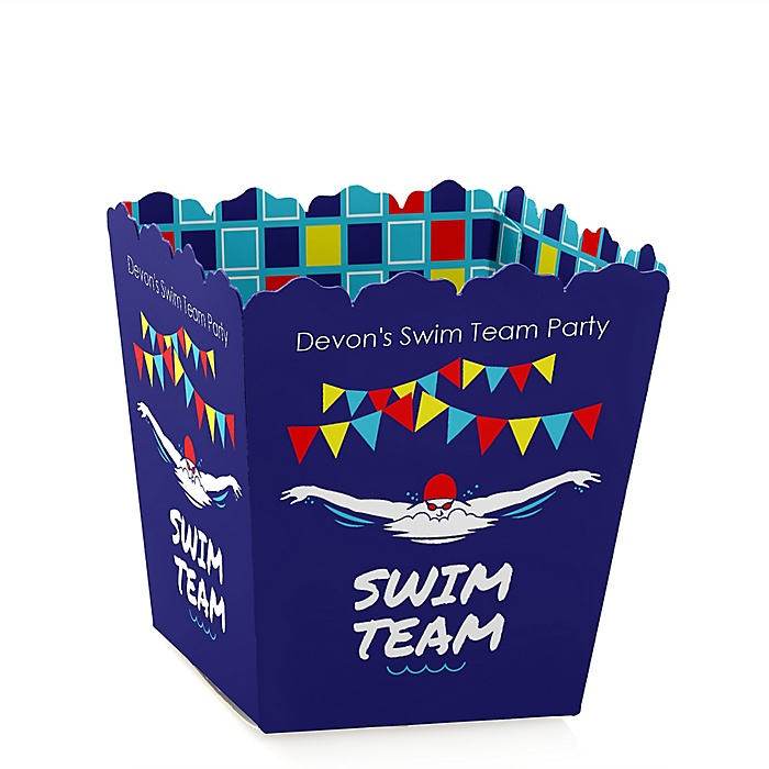 Making Waves - Swim Team - Party Mini Favor Boxes - Personalized Baby Shower or Birthday Party Treat Candy Boxes - Set of 12
