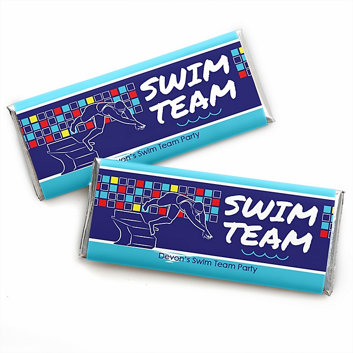 Making Waves - Swim Team - Personalized Candy Bar Wrapper Baby Shower or Birthday Party Favors - Set of 24