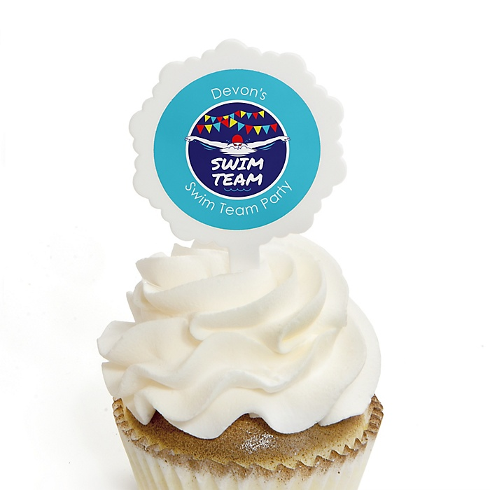 Making Waves - Swim Team - Cupcake Picks with Personalized Stickers - Baby Shower or Birthday Party Cupcake Toppers - 12 ct