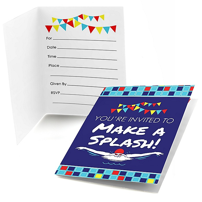 Making Waves - Swim Team - Fill In Baby Shower or Birthday Party Invitations - 8 ct